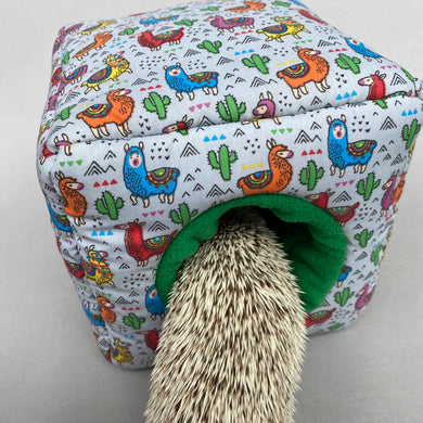 Drama Llama cosy cube house. Hedgehog and guinea pig padded fleece lined house.