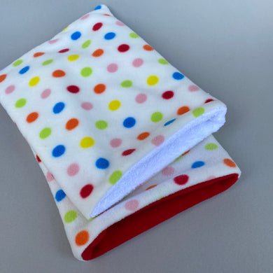 Polka Dot bath sack set. Fleece post bath drying pouch for small animals.
