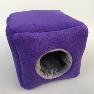 Fleece cosy cube house. Hedgehog and guinea pig bed. Fleece lined.