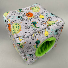 Load image into Gallery viewer, Cycling monsters cosy cube house. Hedgehog and guinea pig padded fleece lined house.