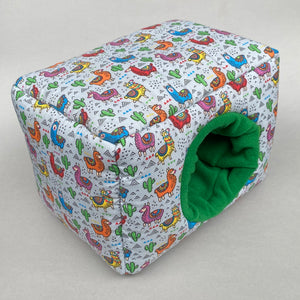 LARGE Drama Llamas cosy bed for guinea pigs. Padded house for guinea pigs.