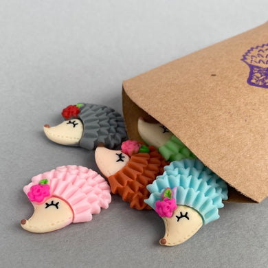 Set of five hedgehog magnets. Cute animal magnets, small fridge magnets. Set of three.