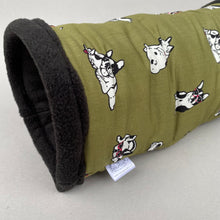 Load image into Gallery viewer, Green dog stay open padded fleece tunnel. Padded tunnel for hedgehogs and small pets.