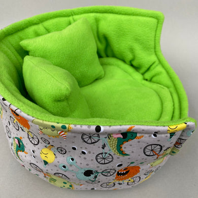 LARGE cycling monsters cuddle cup. Pet sofa. Guinea pig bed. Pet beds. Fleece sofa bed.