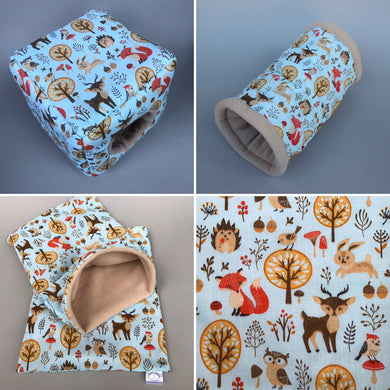 Blue woodland animals full cage set. Cube house, snuggle sack, tunnel cage set.