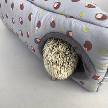 Load image into Gallery viewer, Grey hedgehog corner house. Hedgehog and small pet house.