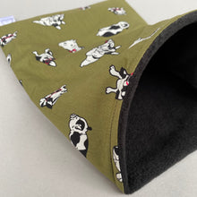 Load image into Gallery viewer, Green dog snuggle sack. Small animal sleeping bag. Fleece lined.