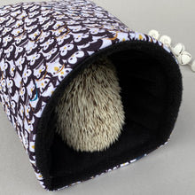 Load image into Gallery viewer, Winter penguin cosy snuggle cave. Padded stay open snuggle sack. Hedgehog bed.
