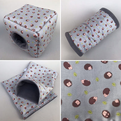 Grey hedgehog full cage set. Cube house, snuggle sack, tunnel cage set.