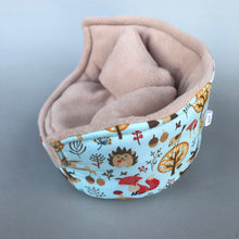 Load image into Gallery viewer, Blue woodland animals cuddle cup. Pet sofa. Hedgehog and small guinea pig bed. Small pet beds.