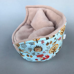 Blue woodland animals cuddle cup. Pet sofa. Hedgehog and small guinea pig bed. Small pet beds.
