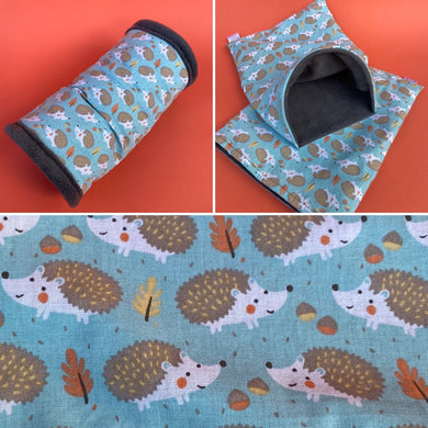 Turquoise hedgehog mini set. Tunnel, snuggle sack and toys.