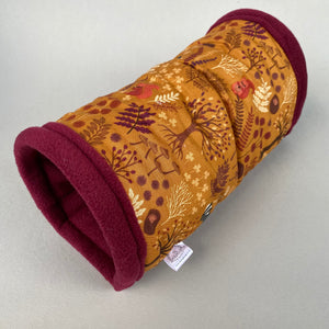 Autumn Forest stay open padded fleece tunnel. Padded tunnel for hedgehogs and small pets.
