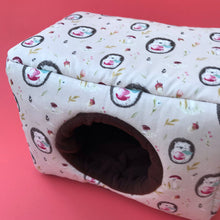 Load image into Gallery viewer, LARGE apple hedgehog cosy bed for guinea pigs. Padded house for guinea pigs.