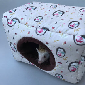 LARGE apple hedgehog cosy bed for guinea pigs. Padded house for guinea pigs.
