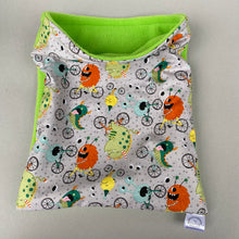 Load image into Gallery viewer, Cycling monsters snuggle sack. Cuddle pouch for hedgehogs and guinea pigs.