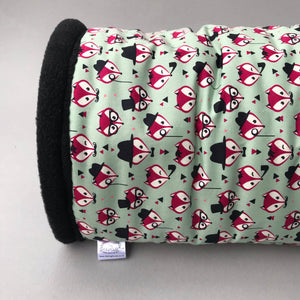 LARGE Dapper Mr Fox stay open padded guinea pig tunnel. Padded fleece tunnel. Guinea pig tube.