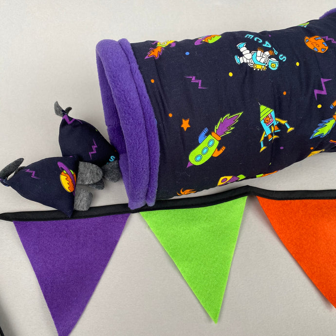 Space stay open padded fleece tunnel, bunting and toys.