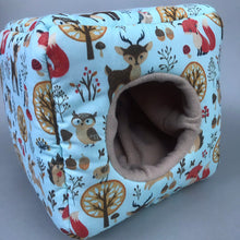 Load image into Gallery viewer, Blue woodland animals cosy cube house. Hedgehog and guinea pig cube house. Padded fleece lined house.
