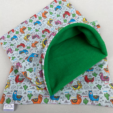 LARGE Drama Llama snuggle sack. Cuddle pouch for hedgehogs and guinea pigs.