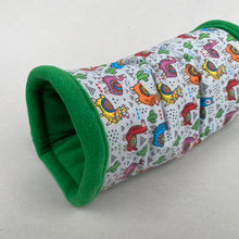 Load image into Gallery viewer, Drama Llama stay open padded fleece tunnel. Padded tunnel for hedgehogs and small pets.