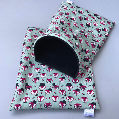 Dapper Mr Fox snuggle sack. Small animal sleeping bag. Fleece lined.