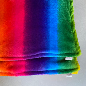 Rainbow cuddle fleece handling blankets for hedgehogs and small pets.