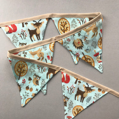 Blue woodland animals miniature bunting. Viv decorations. Cage decorations.