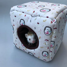 Load image into Gallery viewer, Apple hedgehog cosy cube house. Hedgehog and guinea pig cube house.