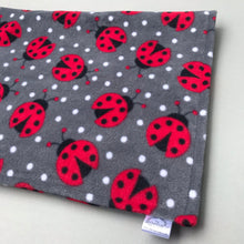 Load image into Gallery viewer, Custom size ladybird fleece cage liners made to measure - Grey with ladybird fleece