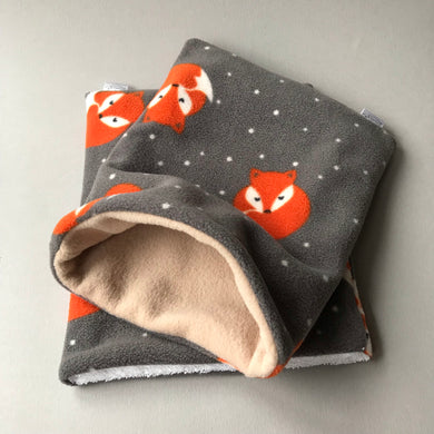 Foxy bath sack set. Fleece post bath drying pouch for small animals.