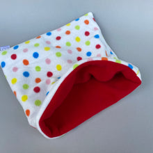 Load image into Gallery viewer, LARGE Polka Dot snuggle sack. Cuddle pouch for hedgehogs and guinea pigs.