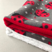 Load image into Gallery viewer, Ladybird bath sack set. Fleece post bath drying pouch for small animals.