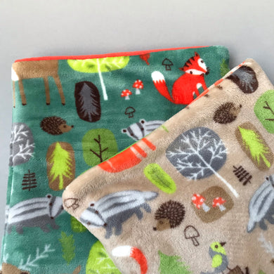 LARGE cuddle soft woodland animals snuggle sack. Small animal sleeping bag.