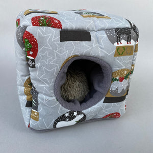 Christmas snow globe cosy cube house. Hedgehog and guinea pig padded house.