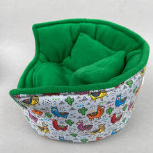 Load image into Gallery viewer, LARGE Drama Llama cuddle cup. Pet sofa. Guinea pig bed. Pet beds. Fleece sofa bed.