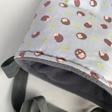 Load image into Gallery viewer, Grey hedgehog padded bonding bag, carry bag for hedgehogs. Fleece lined.