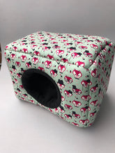 Load image into Gallery viewer, LARGE Dapper Mr Fox cosy bed. Cosy cube. Cuddle Cube. Guinea pig bed. Fleece hidey.