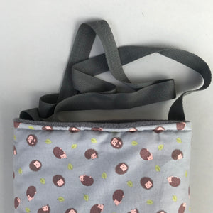 Grey hedgehog padded bonding bag, carry bag for hedgehogs. Fleece lined.