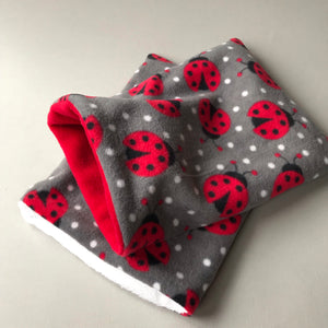 Ladybird bath sack set. Fleece post bath drying pouch for small animals.