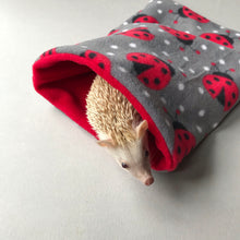 Load image into Gallery viewer, Ladybird snuggle sack. Small animal sleeping bag. Fleece lined. Double fleece sleeping bag