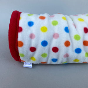 Polka Dot stay open padded fleece tunnel. Padded tunnel for hedgehogs and small pets.