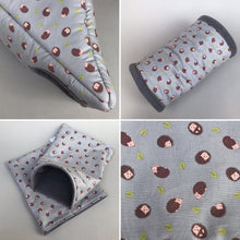 Load image into Gallery viewer, Grey hedgehog full cage set. Corner house, snuggle sack, tunnel cage set.
