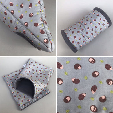 Grey hedgehog full cage set. Corner house, snuggle sack, tunnel cage set.