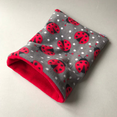 Ladybird snuggle sack. Small animal sleeping bag. Fleece lined. Double fleece sleeping bag