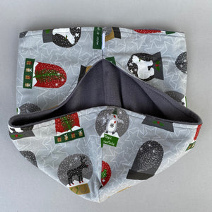 Christmas snow globe bonding scarf for hedgehogs and small pets. Bonding pouch.