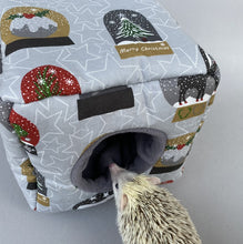 Load image into Gallery viewer, Christmas snow globe cosy cube house. Hedgehog and guinea pig padded house.