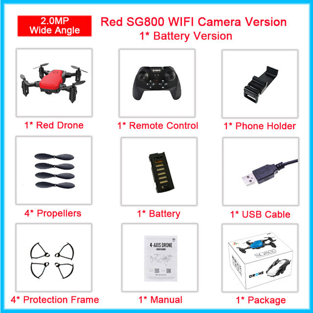 New Foldable Selfie Drone SG800 Mini Camera Drone with WIFI Camera RC Altitude Hold mode Quadrocopter vs D2 M11