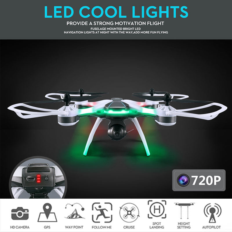 Quadcopter Drone Premium Selfie LED Lighting Aircraft 2 GPS HD 720P Camera Flying Path Presetting Speed Adjustable