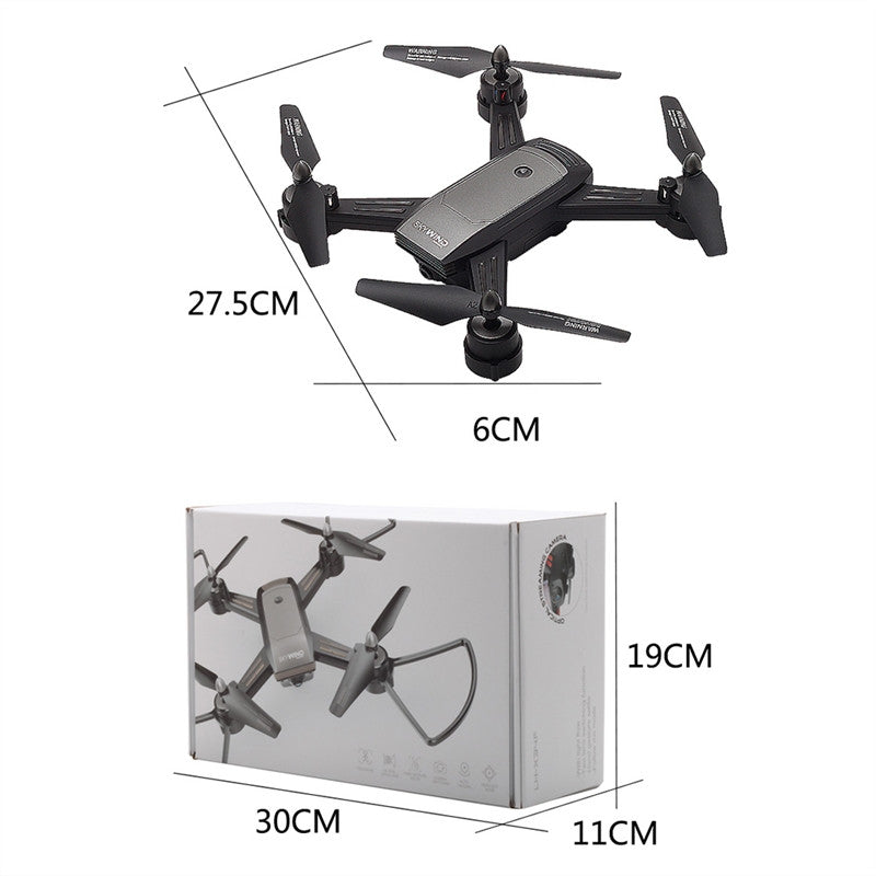 LH-X34F RC Selfie Drone Optical Flow Fixed Double Lens Switching Gesture Photo Function Helicopter Real Time Quadcopter (Grey)